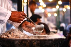 Snail soup served in the market of Marrakesh