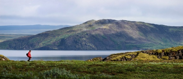 Hiker at Þingvallavatn